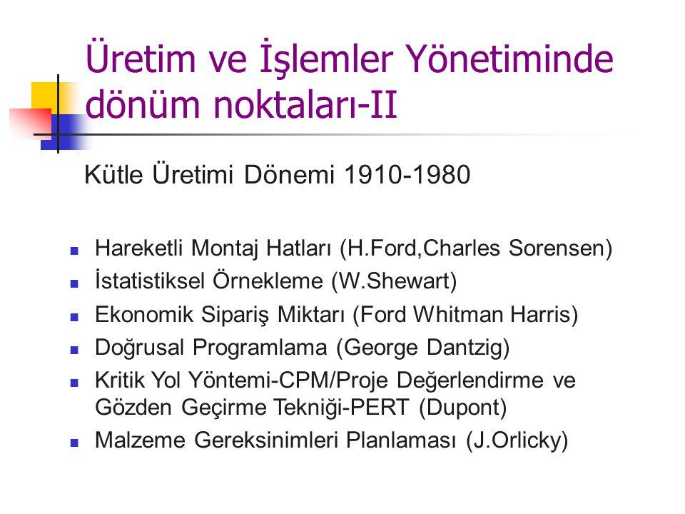Üretim ve İşlemler Yönetiminde dönüm noktaları-II Kütle Üretimi Dönemi 1910-1980 Hareketli Montaj Hatları (H.Ford,Charles Sorensen) İstatistiksel Örnekleme (W.Shewart) Ekonomik Sipariş Miktarı (Ford Whitman Harris) Doğrusal Programlama (George Dantzig) Kritik Yol Yöntemi-CPM/Proje Değerlendirme ve Gözden Geçirme Tekniği-PERT (Dupont) Malzeme Gereksinimleri Planlaması (J.Orlicky)