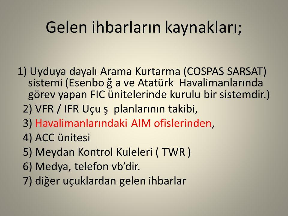 Gelen ihbarların kaynakları; 1) Uyduya dayalı Arama Kurtarma (COSPAS SARSAT) sistemi (Esenbo ğ a ve Atatürk Havalimanlarında görev yapan FIC ünitelerinde kurulu bir sistemdir.) 2) VFR / IFR Uçu ş planlarının takibi, 3) Havalimanlarındaki AIM ofislerinden, 4) ACC ünitesi 5) Meydan Kontrol Kuleleri ( TWR ) 6) Medya, telefon vb'dir.