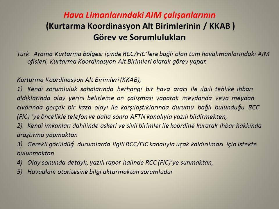 Hava Limanlarındaki AIM çalışanlarının (Kurtarma Koordinasyon Alt Birimlerinin / KKAB ) Görev ve Sorumlulukları Türk Arama Kurtarma bölgesi içinde RCC/FIC'lere bağlı olan tüm havalimanlarındaki AIM ofisleri, Kurtarma Koordinasyon Alt Birimleri olarak görev yapar.