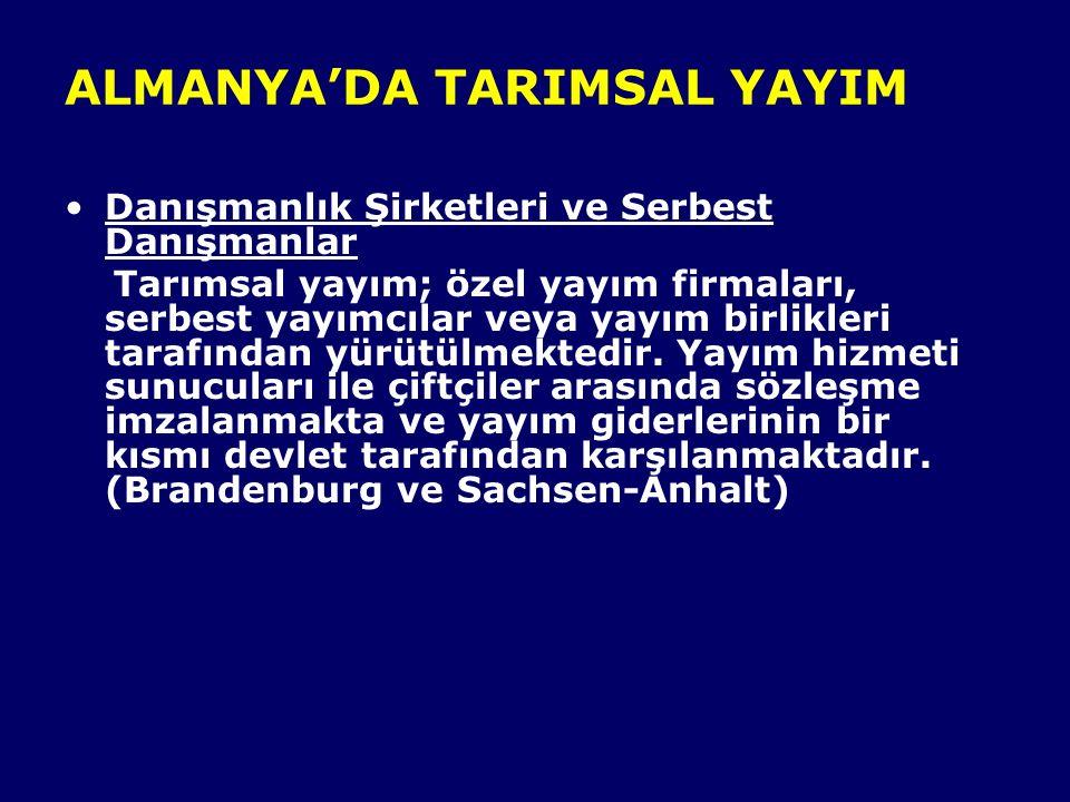 ALMANYA'DA TARIMSAL YAYIM Danışmanlık Şirketleri ve Serbest Danışmanlar Tarımsal yayım; özel yayım firmaları, serbest yayımcılar veya yayım birlikleri tarafından yürütülmektedir.