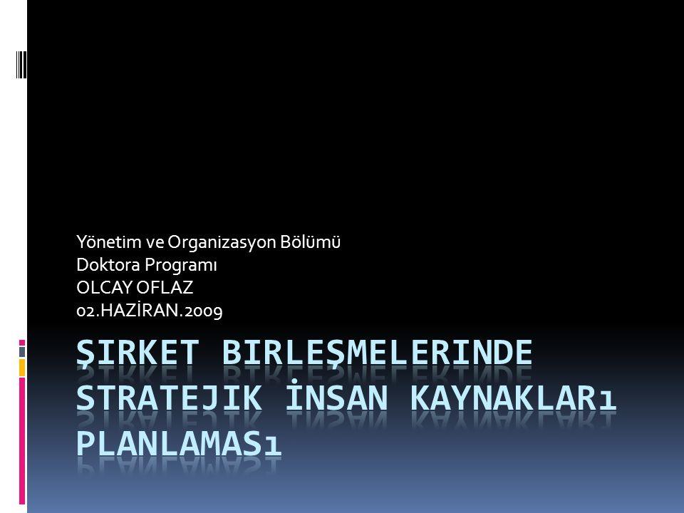 Yönetim ve Organizasyon Bölümü Doktora Programı OLCAY OFLAZ 02.HAZİRAN.2009