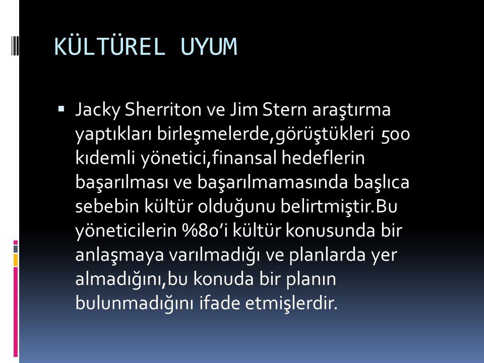 KÜLTÜREL UYUM  Jacky Sherriton ve Jim Stern araştırma yaptıkları birleşmelerde,görüştükleri 500 kıdemli yönetici,finansal hedeflerin başarılması ve b