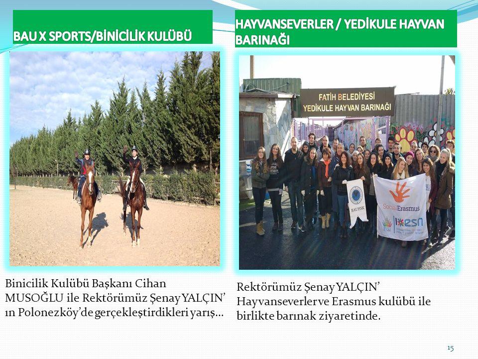 Binicilik Kulübü Başkanı Cihan MUSOĞLU ile Rektörümüz Şenay YALÇIN' ın Polonezköy'de gerçekleştirdikleri yarış… 15 Rektörümüz Şenay YALÇIN' Hayvanseve