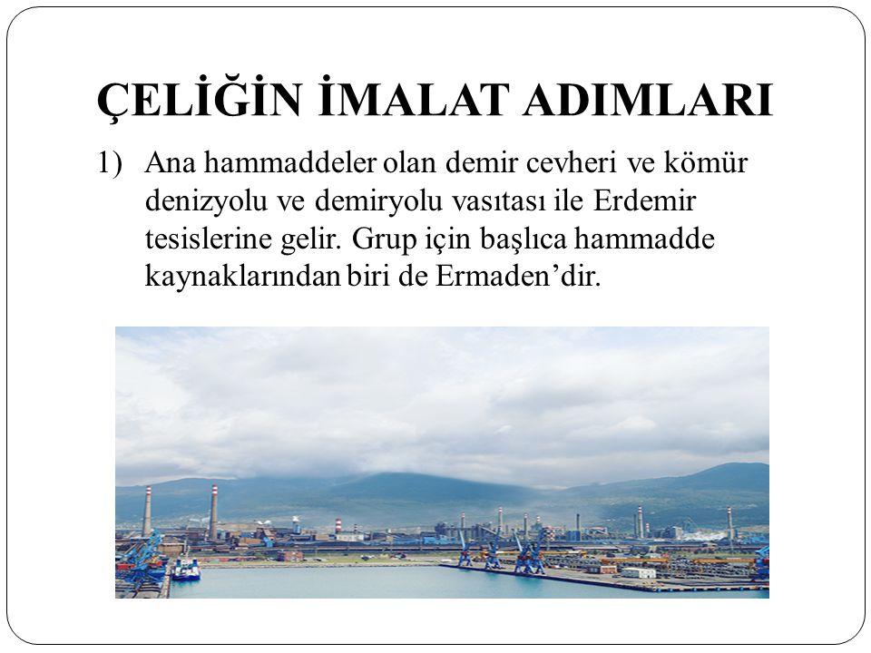 ÇELİĞİN İMALAT ADIMLARI 1) Ana hammaddeler olan demir cevheri ve kömür denizyolu ve demiryolu vasıtası ile Erdemir tesislerine gelir.