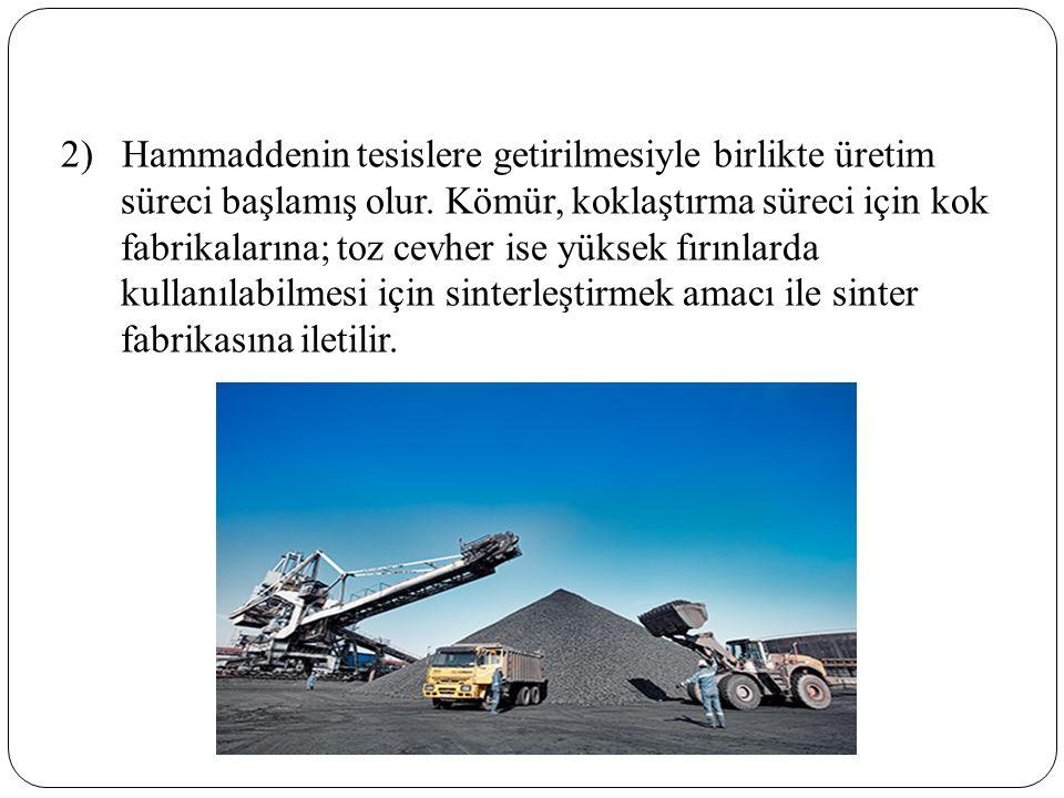 2) Hammaddenin tesislere getirilmesiyle birlikte üretim süreci başlamış olur.