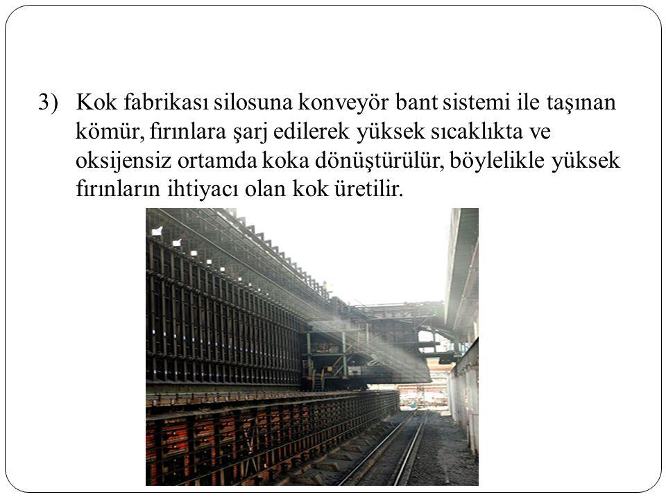 3) Kok fabrikası silosuna konveyör bant sistemi ile taşınan kömür, fırınlara şarj edilerek yüksek sıcaklıkta ve oksijensiz ortamda koka dönüştürülür, böylelikle yüksek fırınların ihtiyacı olan kok üretilir.