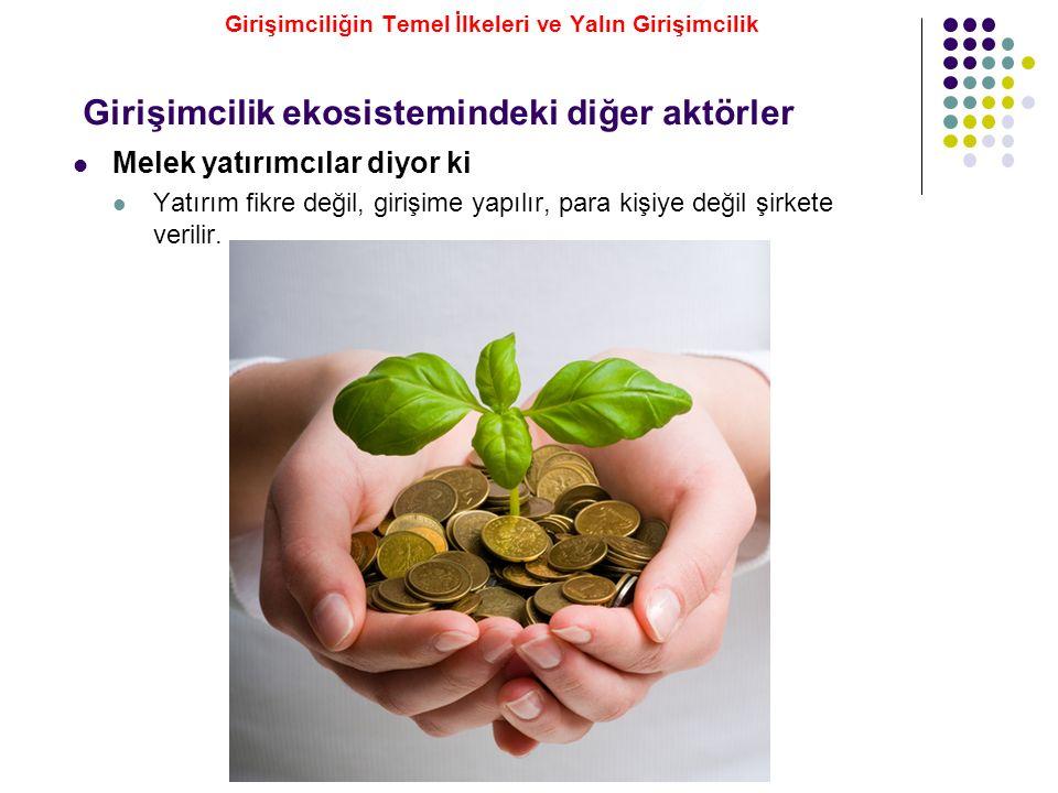 Melek yatırımcılar diyor ki Yatırım fikre değil, girişime yapılır, para kişiye değil şirkete verilir. Girişimcilik ekosistemindeki diğer aktörler Giri