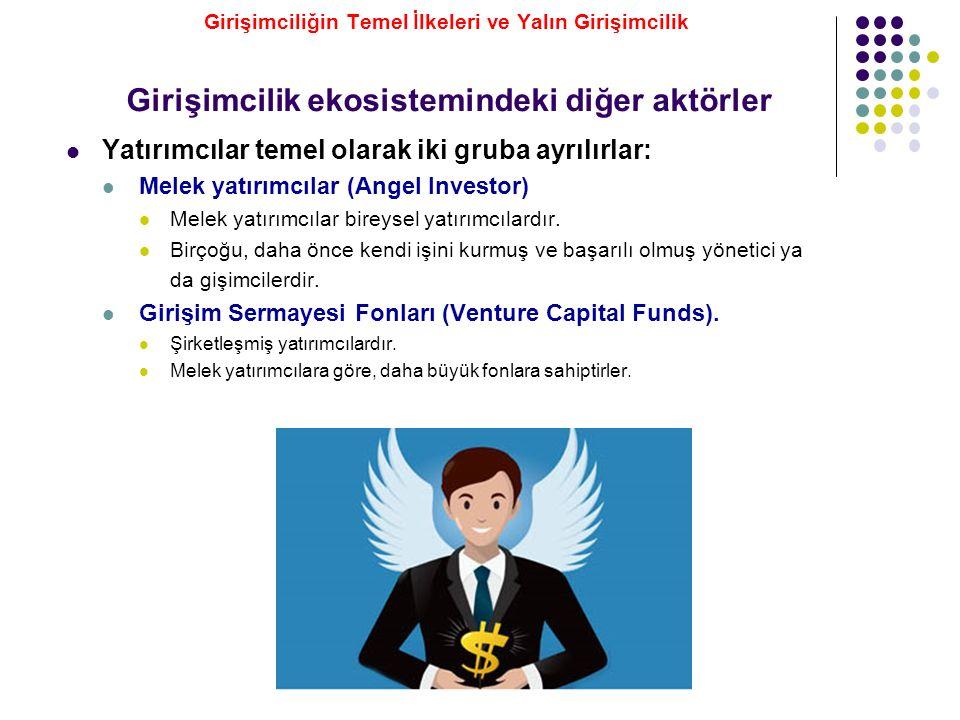 Girişimcilik ekosistemindeki diğer aktörler Yatırımcılar temel olarak iki gruba ayrılırlar: Melek yatırımcılar (Angel Investor) Melek yatırımcılar bir
