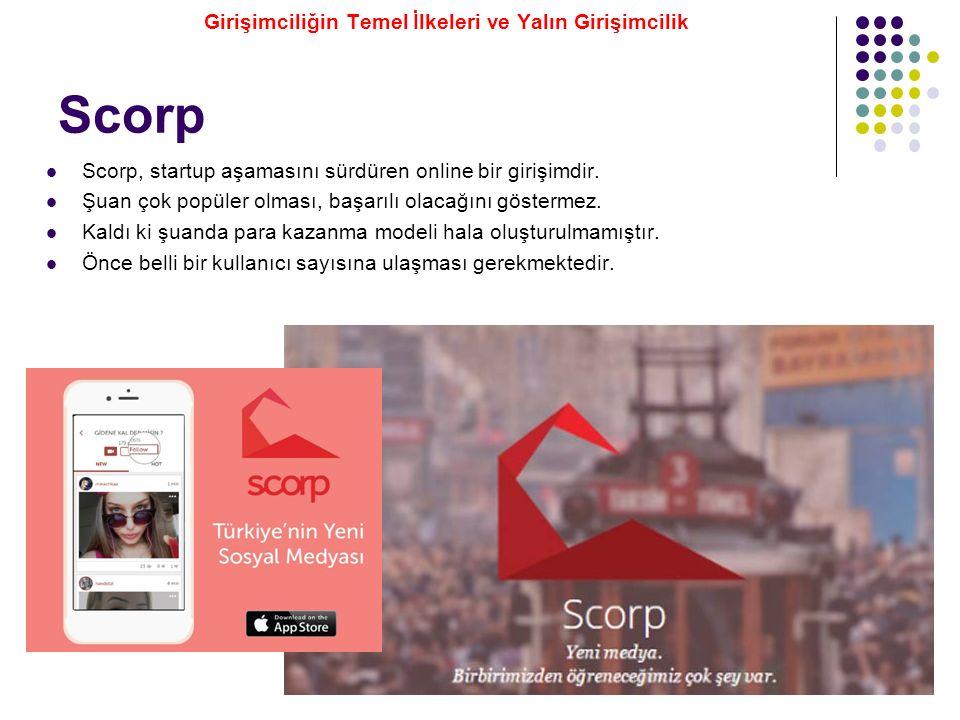 Scorp Scorp, startup aşamasını sürdüren online bir girişimdir. Şuan çok popüler olması, başarılı olacağını göstermez. Kaldı ki şuanda para kazanma mod