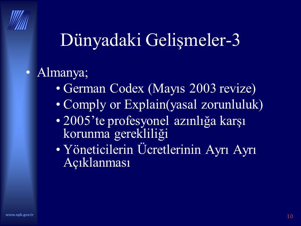 www.spk.gov.tr 10 Dünyadaki Gelişmeler-3 Almanya; German Codex (Mayıs 2003 revize) Comply or Explain(yasal zorunluluk) 2005'te profesyonel azınlığa karşı korunma gerekliliği Yöneticilerin Ücretlerinin Ayrı Ayrı Açıklanması