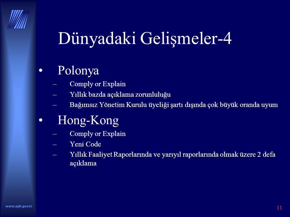 www.spk.gov.tr 11 Dünyadaki Gelişmeler-4 Polonya –Comply or Explain –Yıllık bazda açıklama zorunluluğu –Bağımsız Yönetim Kurulu üyeliği şartı dışında çok büyük oranda uyum Hong-Kong –Comply or Explain –Yeni Code –Yıllık Faaliyet Raporlarında ve yarıyıl raporlarında olmak üzere 2 defa açıklama