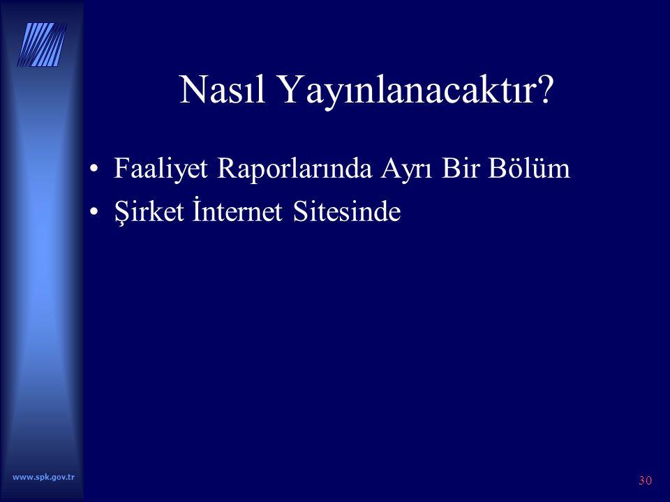 www.spk.gov.tr 30 Nasıl Yayınlanacaktır.