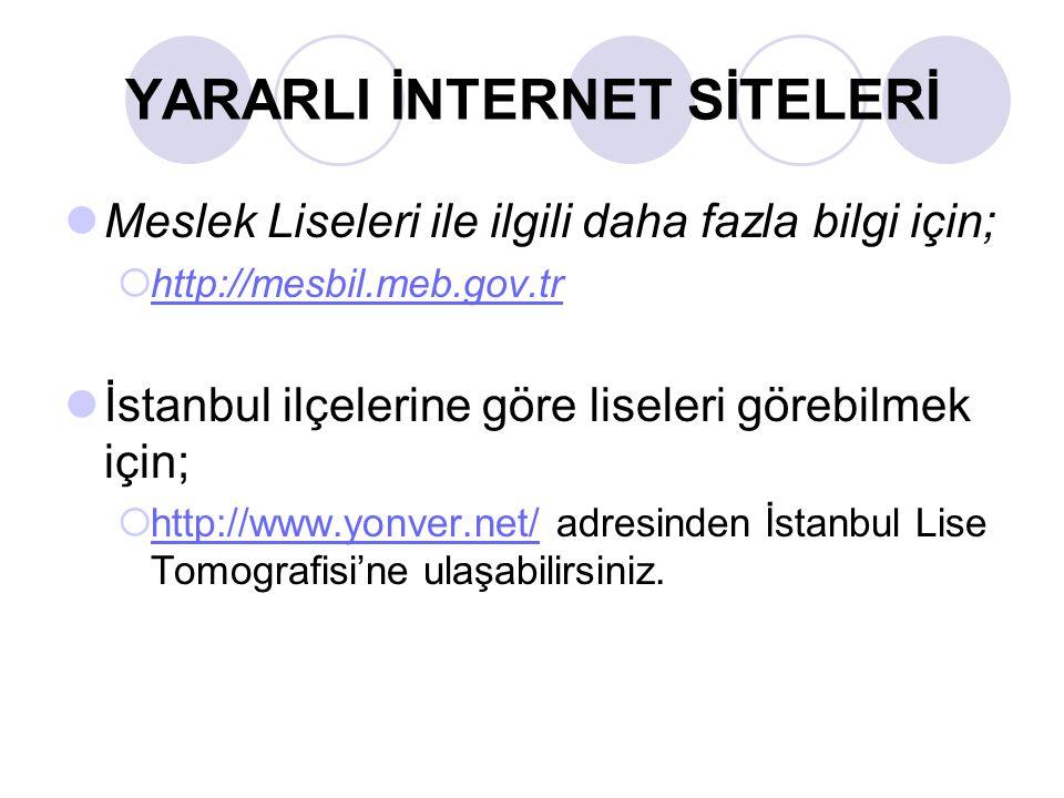 YARARLI İNTERNET SİTELERİ Meslek Liseleri ile ilgili daha fazla bilgi için;  http://mesbil.meb.gov.tr http://mesbil.meb.gov.tr İstanbul ilçelerine gö