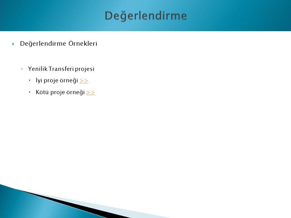  Değerlendirme Örnekleri ◦ Yenilik Transferi projesi  İyi proje örneği >>>>  Kötü proje örneği >>>>