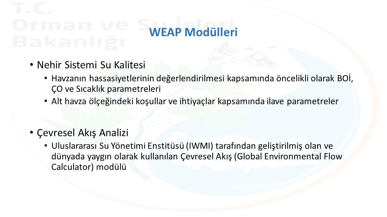 WEAP Modülleri Nehir Sistemi Su Kalitesi Havzanın hassasiyetlerinin değerlendirilmesi kapsamında öncelikli olarak BOİ, ÇO ve Sıcaklık parametreleri Alt havza ölçeğindeki koşullar ve ihtiyaçlar kapsamında ilave parametreler Çevresel Akış Analizi Uluslararası Su Yönetimi Enstitüsü (IWMI) tarafından geliştirilmiş olan ve dünyada yaygın olarak kullanılan Çevresel Akış (Global Environmental Flow Calculator) modülü