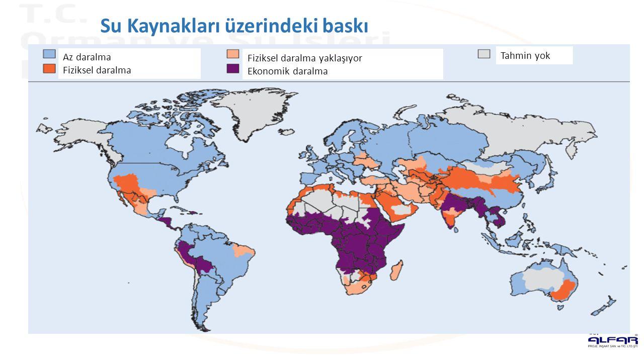 Az daralma Fiziksel daralma Fiziksel daralma yaklaşıyor Ekonomik daralma Tahmin yok Su Kaynakları üzerindeki baskı