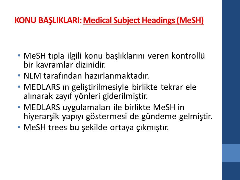KONU BAŞLIKLARI: Medical Subject Headings (MeSH) MeSH tıpla ilgili konu başlıklarını veren kontrollü bir kavramlar dizinidir.