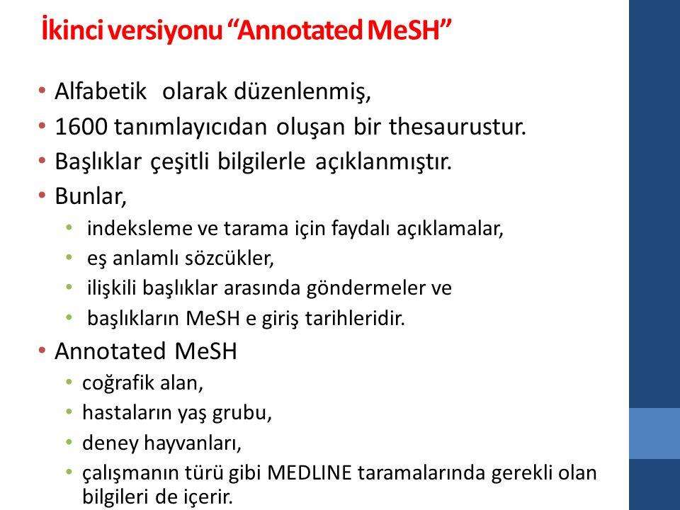İkinci versiyonu Annotated MeSH Alfabetik olarak düzenlenmiş, 1600 tanımlayıcıdan oluşan bir thesaurustur.