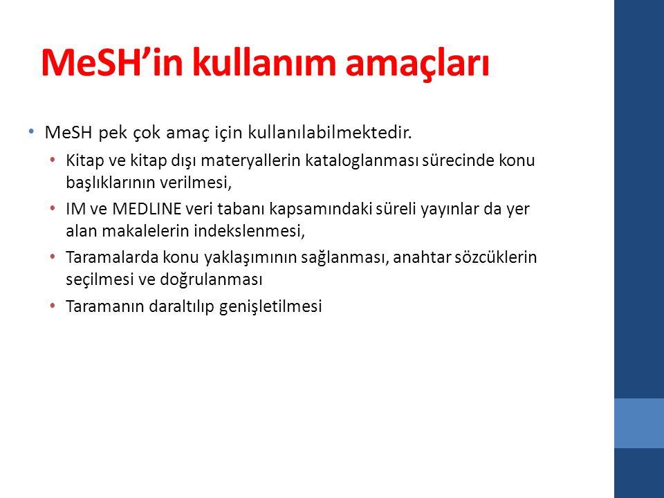 MeSH'in kullanım amaçları MeSH pek çok amaç için kullanılabilmektedir.