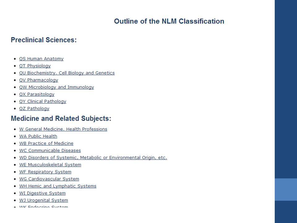 NLM Sınıflamanın özellikleri Alfanumerik sistemde hazırlanmıştır.