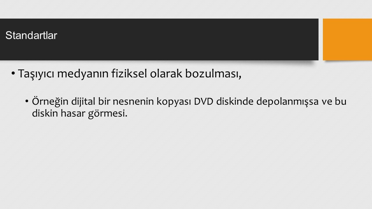 Taşıyıcı medyanın fiziksel olarak bozulması, Örneğin dijital bir nesnenin kopyası DVD diskinde depolanmışsa ve bu diskin hasar görmesi. Standartlar