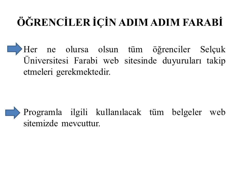 ÖĞRENCİLER İÇİN ADIM ADIM FARABİ Her ne olursa olsun tüm öğrenciler Selçuk Üniversitesi Farabi web sitesinde duyuruları takip etmeleri gerekmektedir.