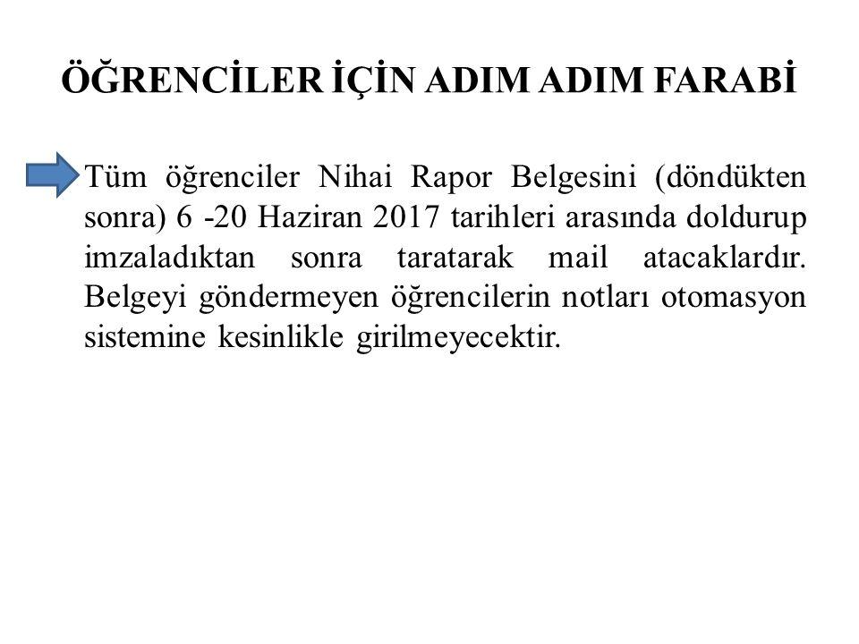 ÖĞRENCİLER İÇİN ADIM ADIM FARABİ Tüm öğrenciler Nihai Rapor Belgesini (döndükten sonra) 6 -20 Haziran 2017 tarihleri arasında doldurup imzaladıktan so