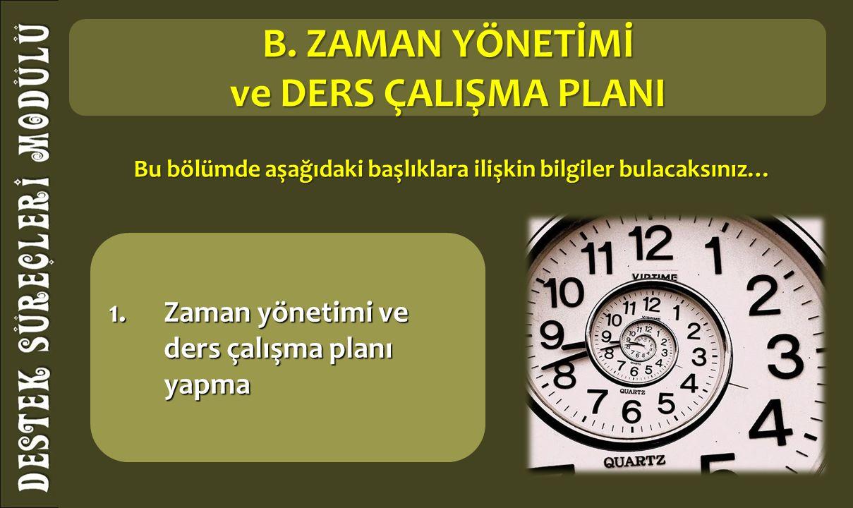 1.Zaman yönetimi ve ders çalışma planı yapma B.