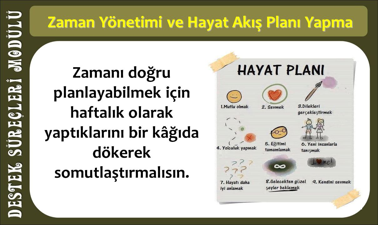 Zaman Yönetimi ve Hayat Akış Planı Yapma Zaman Yönetimi ve Hayat Akış Planı Yapma Zamanı doğru planlayabilmek için haftalık olarak yaptıklarını bir kâğıda dökerek somutlaştırmalısın.