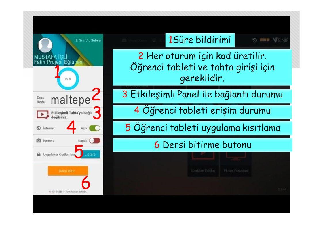1 2323 4545 6 1Süre bildirimi 2 Her oturum için kod üretilir. Öğrenci tableti ve tahta girişi için gereklidir. 3 Etkileşimli Panel ile bağlantı durumu