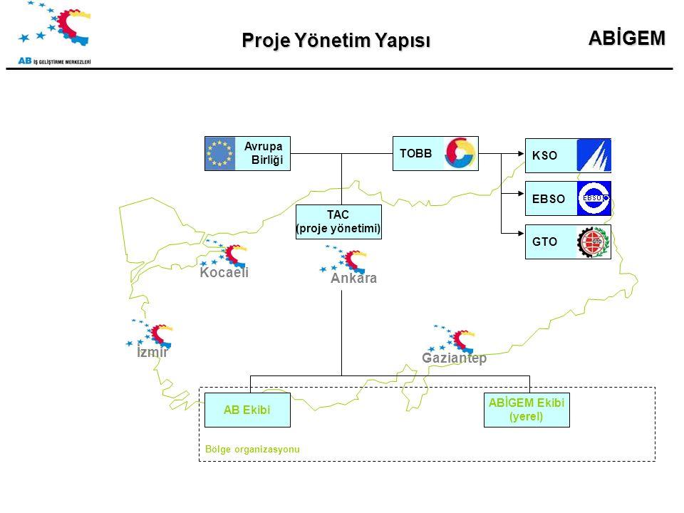 ABİGEM Proje Yönetim Yapısı KocaeliGaziantepİzmir AB Ekibi ABİGEM Ekibi (yerel) Avrupa Birliği TAC (proje yönetimi) TOBB Bölge organizasyonu Ankara EBSOKSOGTO