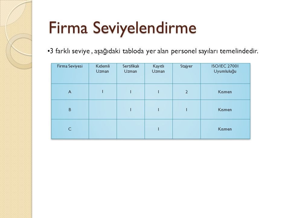 Firma Seviyelendirme 3 farklı seviye, aşa ğ ıdaki tabloda yer alan personel sayıları temelindedir.