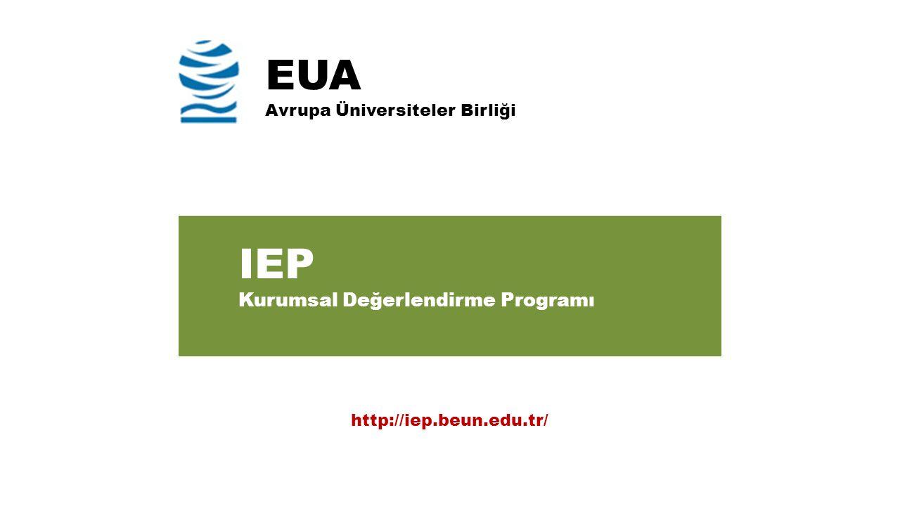 EUA Avrupa Üniversiteler Birliği IEP Kurumsal Değerlendirme Programı http://iep.beun.edu.tr/