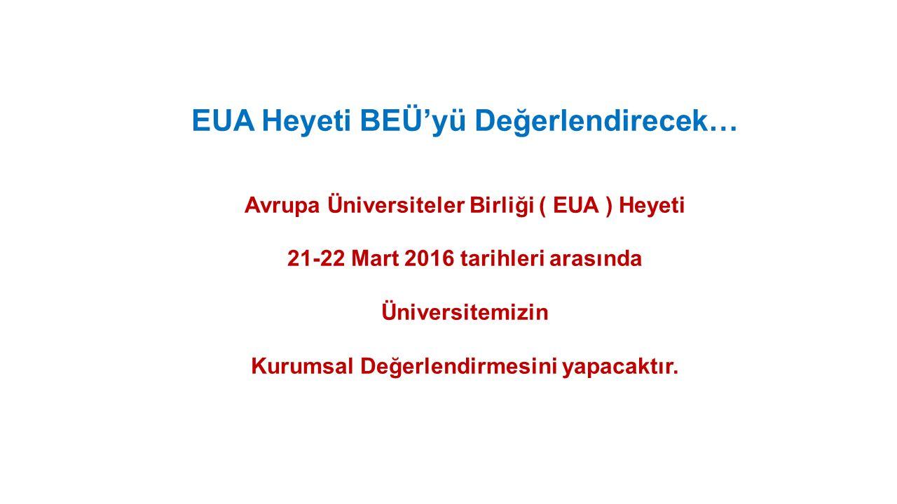 EUA Heyeti BEÜ'yü Değerlendirecek… Avrupa Üniversiteler Birliği ( EUA ) Heyeti 21-22 Mart 2016 tarihleri arasında Üniversitemizin Kurumsal Değerlendirmesini yapacaktır.