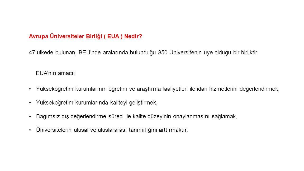 Avrupa Üniversiteler Birliği ( EUA ) Nedir? 47 ülkede bulunan, BEÜ'nde aralarında bulunduğu 850 Üniversitenin üye olduğu bir birliktir. EUA'nın amacı;