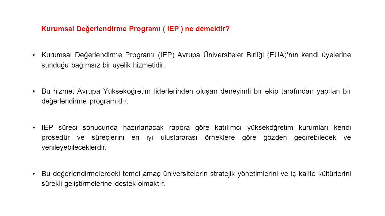 Kurumsal Değerlendirme Programı ( IEP ) ne demektir? Kurumsal Değerlendirme Programı (IEP) Avrupa Üniversiteler Birliği (EUA)'nın kendi üyelerine sund