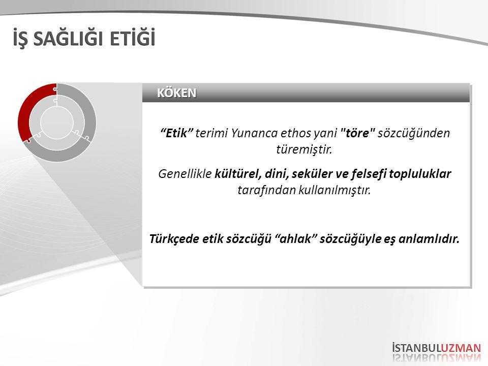 KÖKENKÖKEN Etik terimi Yunanca ethos yani töre sözcüğünden türemiştir.