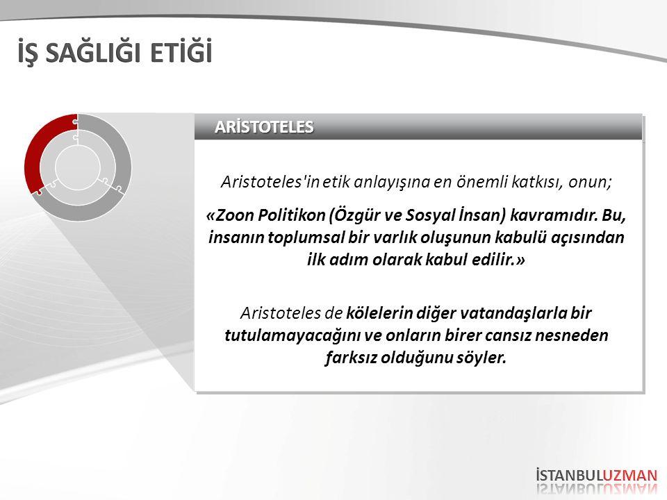 ARİSTOTELESARİSTOTELES Aristoteles'in etik anlayışına en önemli katkısı, onun; «Zoon Politikon (Özgür ve Sosyal İnsan) kavramıdır. Bu, insanın toplums