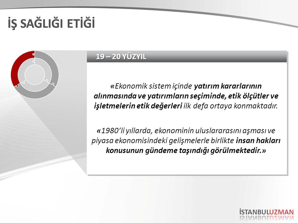 19 – 20 YÜZYIL «Ekonomik sistem içinde yatırım kararlarının alınmasında ve yatırımların seçiminde, etik ölçütler ve işletmelerin etik değerleri ilk defa ortaya konmaktadır.