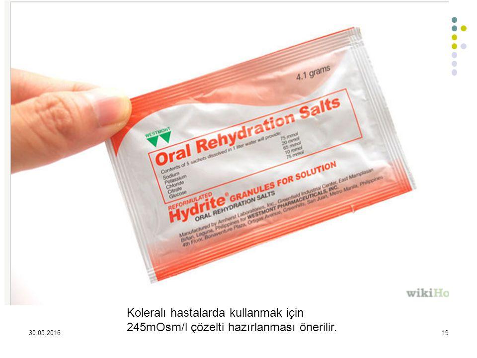 30.05.201619 Koleralı hastalarda kullanmak için 245mOsm/l çözelti hazırlanması önerilir.
