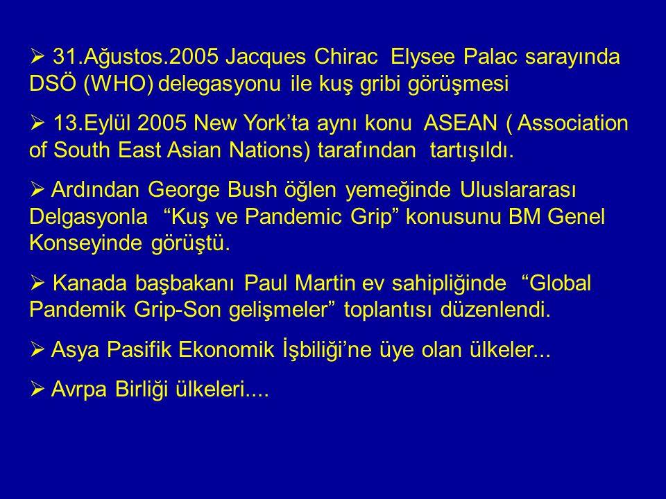  31.Ağustos.2005 Jacques Chirac Elysee Palac sarayında DSÖ (WHO) delegasyonu ile kuş gribi görüşmesi  13.Eylül 2005 New York'ta aynı konu ASEAN ( Association of South East Asian Nations) tarafından tartışıldı.