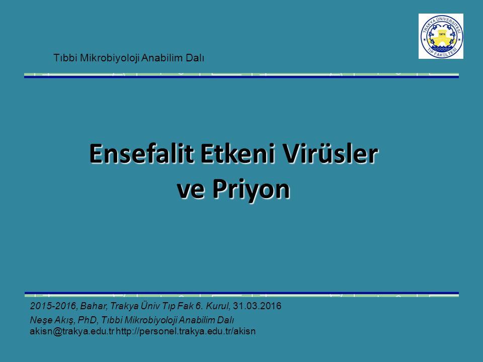 Ensefalit Etkeni Virüsler ve Priyon 2015-2016, Bahar, Trakya Üniv Tıp Fak 6.