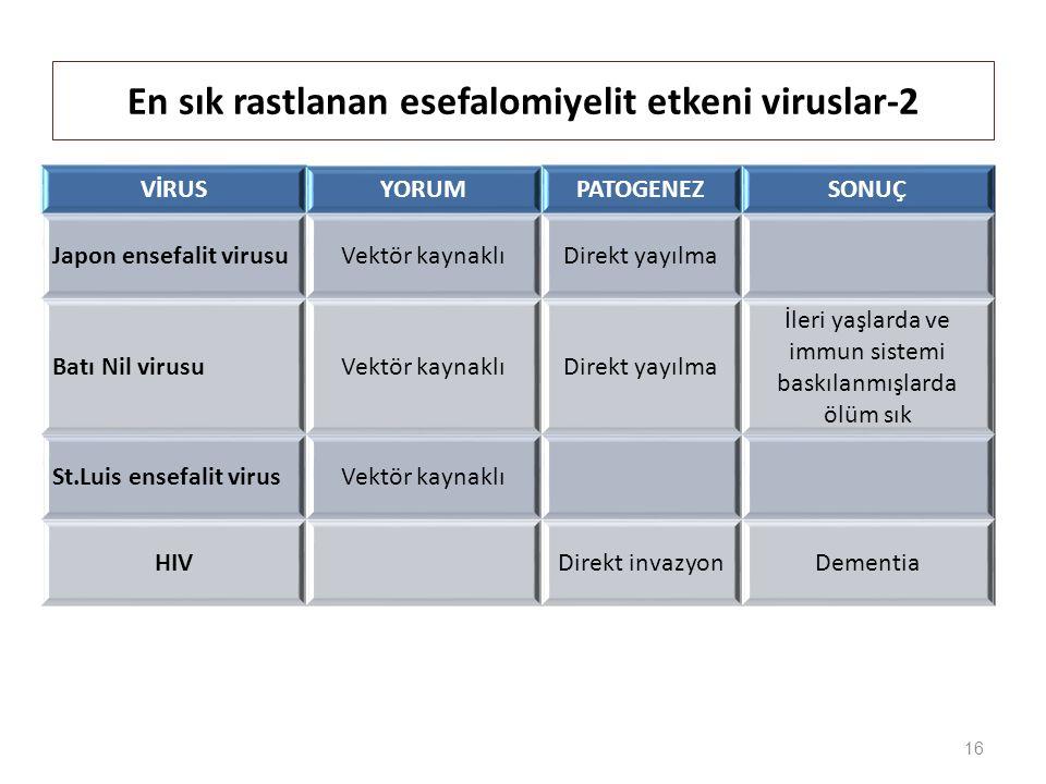 VİRUSYORUMPATOGENEZSONUÇ Japon ensefalit virusuVektör kaynaklıDirekt yayılma Batı Nil virusuVektör kaynaklıDirekt yayılma İleri yaşlarda ve immun sistemi baskılanmışlarda ölüm sık St.Luis ensefalit virusVektör kaynaklı HIVDirekt invazyonDementia 16 En sık rastlanan esefalomiyelit etkeni viruslar-2