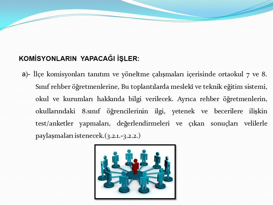 a)- İlçe komisyonları tanıtım ve yöneltme çalışmaları içerisinde ortaokul 7 ve 8.