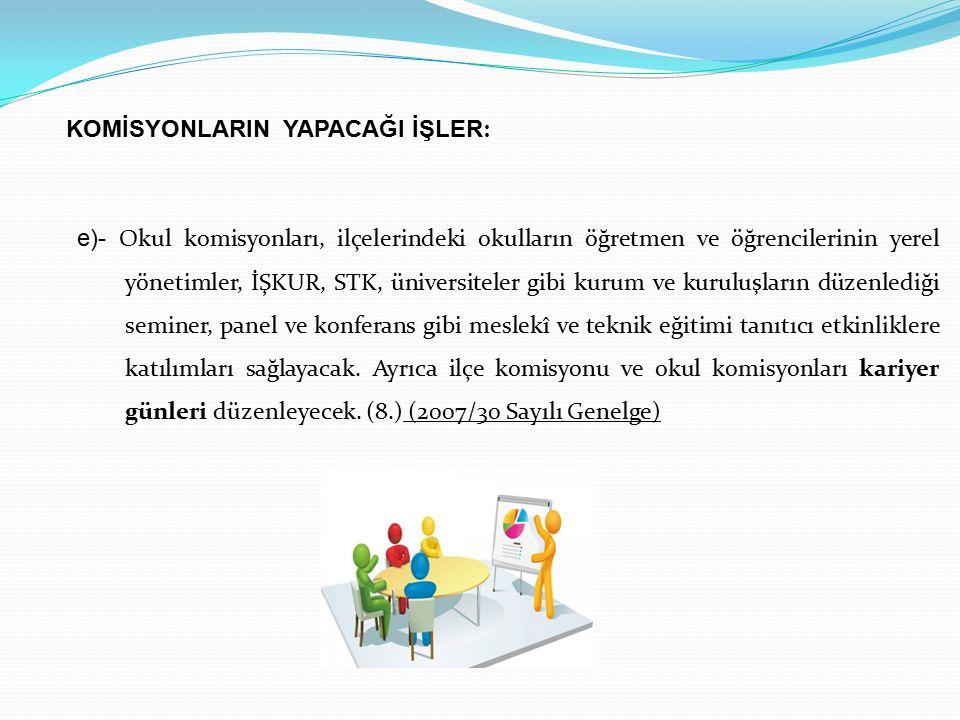 e)- Okul komisyonları, ilçelerindeki okulların öğretmen ve öğrencilerinin yerel yönetimler, İŞKUR, STK, üniversiteler gibi kurum ve kuruluşların düzen