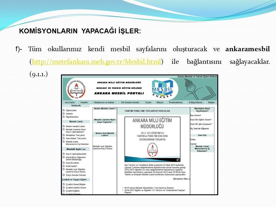 f)- Tüm okullarımız kendi mesbil sayfalarını oluşturacak ve ankaramesbil (http://metefankara.meb.gov.tr/Mesbil.html) ile bağlantısını sağlayacaklar. (