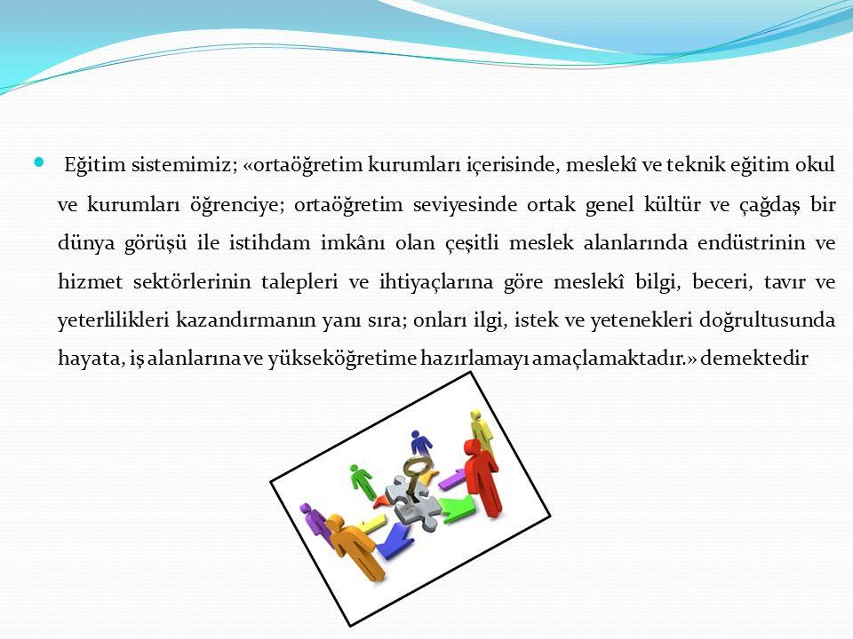 Eğitim sistemimiz; «ortaöğretim kurumları içerisinde, meslekî ve teknik eğitim okul ve kurumları öğrenciye; ortaöğretim seviyesinde ortak genel kültür