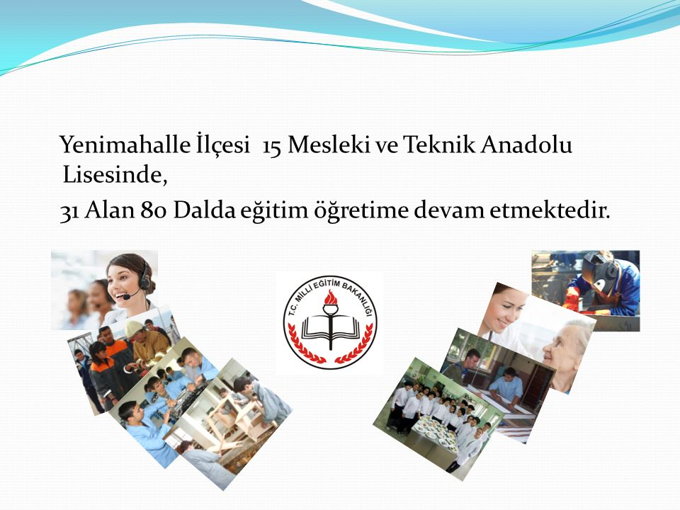 Yenimahalle İlçesi 15 Mesleki ve Teknik Anadolu Lisesinde, 31 Alan 80 Dalda eğitim öğretime devam etmektedir.