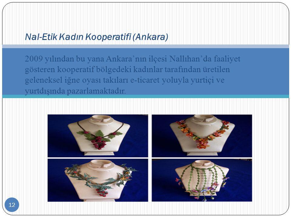 12 Nal-Etik Kadın Kooperatifi (Ankara) 2009 yılından bu yana Ankara'nın ilçesi Nallıhan'da faaliyet gösteren kooperatif bölgedeki kadınlar tarafından
