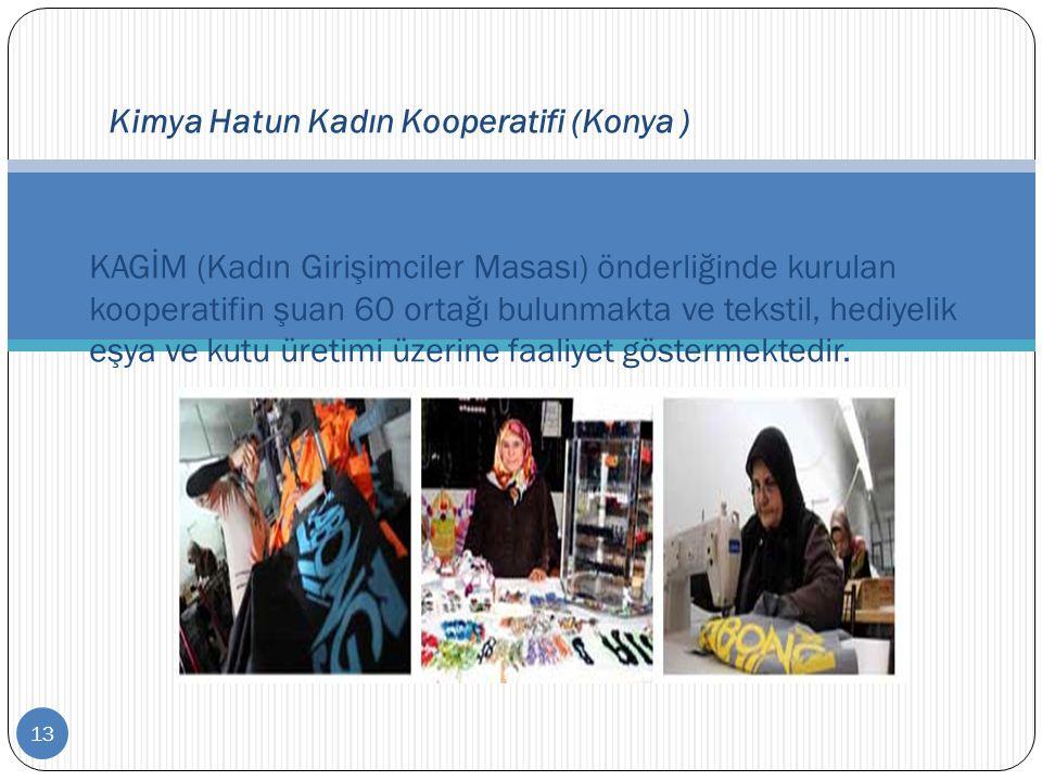 13 Kimya Hatun Kadın Kooperatifi (Konya ) KAGİM (Kadın Girişimciler Masası) önderliğinde kurulan kooperatifin şuan 60 ortağı bulunmakta ve tekstil, he